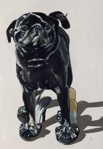 pug in heels by georgia fiennes----this is beautiful. i havea black pug and one she is a diva who would wear heels and two it is so hard to get a good picture of black pugs. i love the highlights and the this artists ability to capture the pug personality