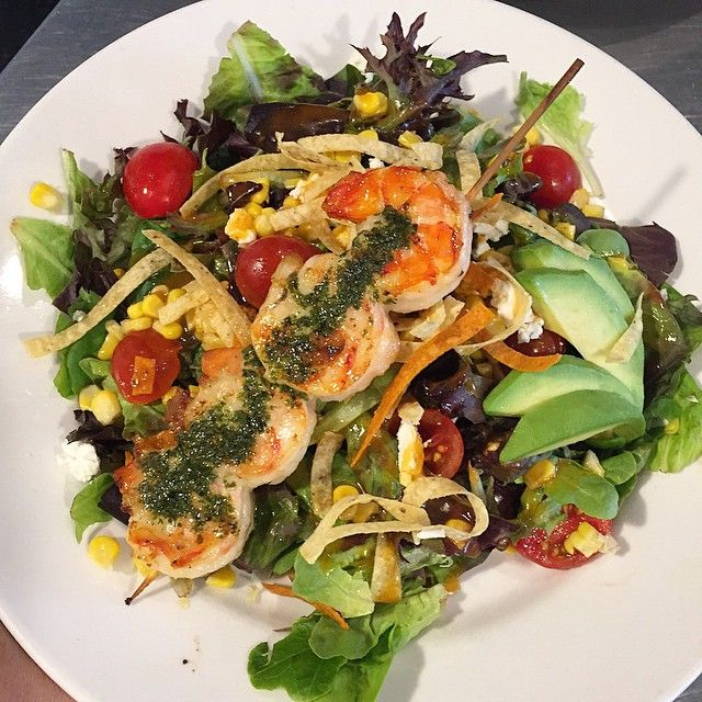 Pesto Grilled Shrimp Salad - baby lettuces, avocado, tomato, goat cheese, grilled corn, lime vinaigrette, & frizzled tortillas  #fresh #salads #scottsdale #arcadiafarms #wine #delish #shrimp