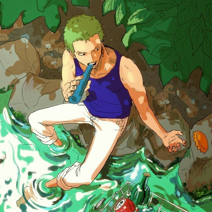 Roronoa Zoro, water, booze, basket, stream; One Piece