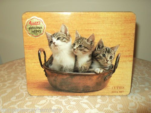 Vintage-Allens-toffees-tin-Cuties-3-kittens-in-a-pot-advertising-collectable
