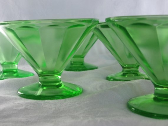 Depression glass sherbet cups, 8 for $72