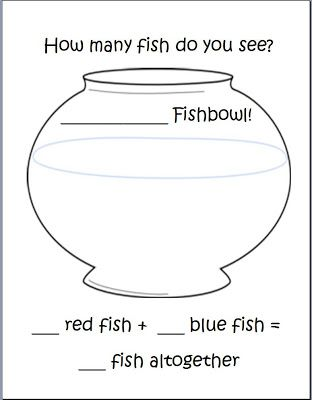 One Fish, Two Fish, Red Fish, Blue Fish addition idea. Allow students to create a math story. They can share their math stories with other classmates for them to try to solve.