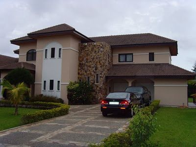 """House in Accra-Ghana. Not all people in Ghana live in grass huts.""""ME """" I THOUGHT THIS WAS FUNNY."""