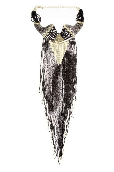 Fringe Gypsy Necklace Black