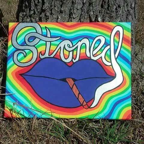 """Stoned"" 12x14"" $45 Acrylic paint on canvas Email me at TwanKaikpo@gmail.com to purchase!   #hippie #art #trippy #psychedelic #stoned #stoner #The60s #colorful #12x24"