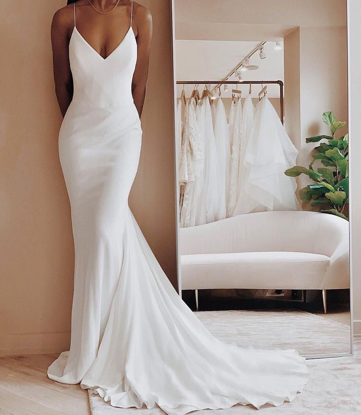 32 Beach Wedding Dresses Perfect For A Destination Wedding, simple wedding dress ,thin straps wedding gown #weddingdress #weddinggown