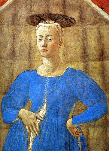 The Piero della Francesca Trail...interesting pregnancy solution--just wear your non-pregnant clothes & don't close them.