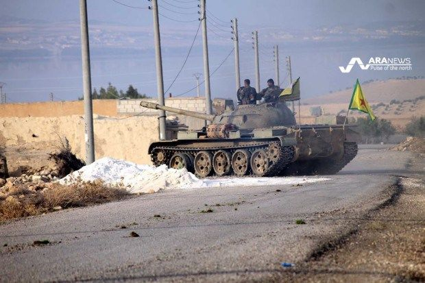 SYRIA and IRAQ NEWS: #Rojava Update 186 - Syrian Democratic Force Take 15 Towns and Villages North of Aleppo in Last 2 Weeks. Turks Mass Weapons on Border. *For More #Iraq and #Syria News ...* http://www.petercliffordonline.com/syria-and-iraq-news PIC: SDF/YPG Tank West of the Euphrates: