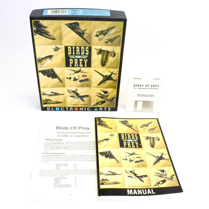 Birds of Prey for IBM PC by EA in Big Box, 1992, MS-DOS, VGC, CIB