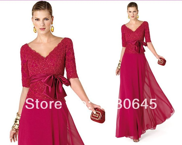 Plus Size Wedding Gowns With Sleeves: Plus Size Fuschia Lace Beads V Neck Long Chiffon Formal