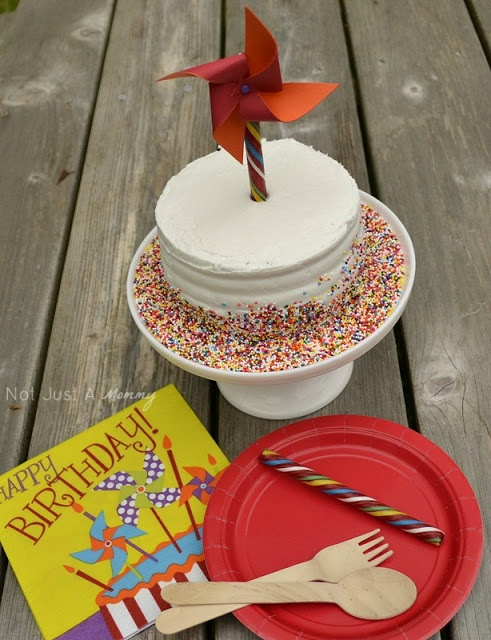 """1 cake 3 ways pinwheel cake topper.  Buy a plain frosted 5"""" cake from a local bakery but any size cake will work."""