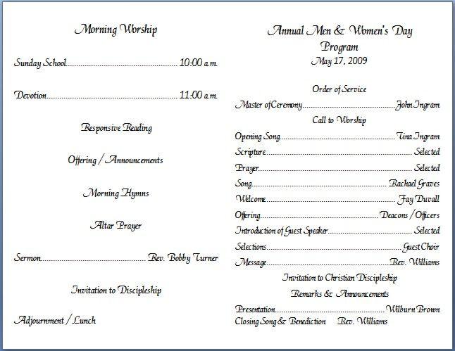 church bulletin insert template