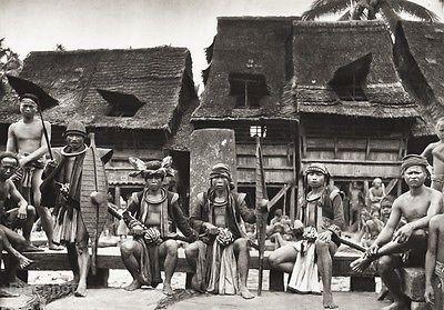 1934-Vintage-11x14-INDONESIA-Nias-Island-Native-Tribe-Folk-Dress-Photo-Art