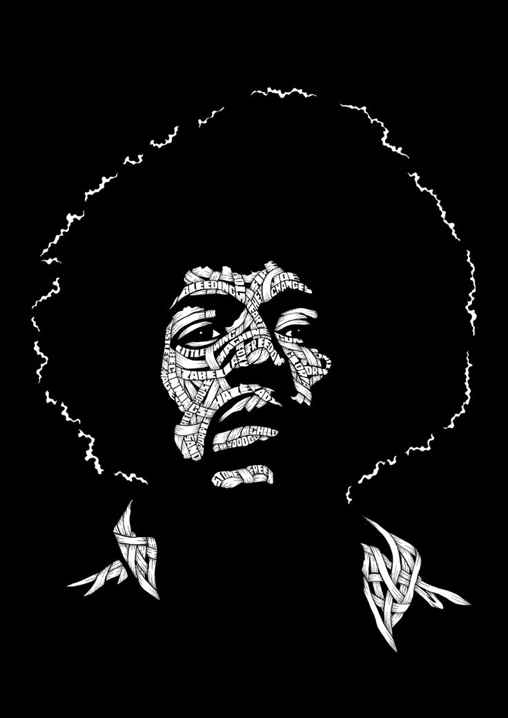 """""""Jimmy Hendrix"""" (2011), by Otto Schade (aka OSCH). Ink drawing on paper."""