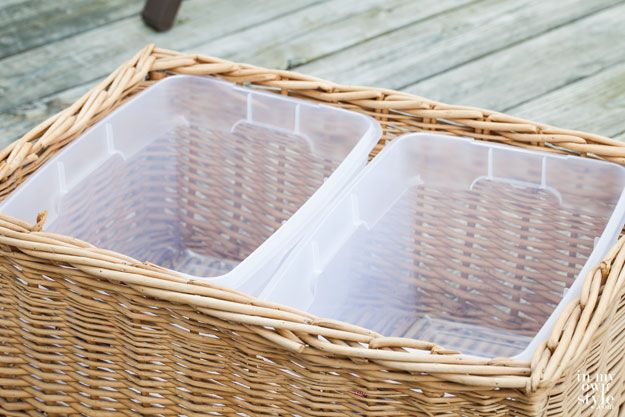 """Throw an outdoor party in style by making this simple party cooler using a basket. Plus """"Ice Cold Drinks"""" free printable label to download and use 