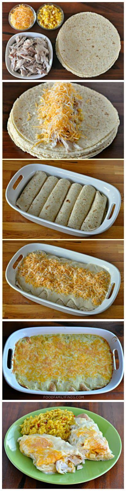 pão sírio ou rapidez,o frango já tem no mercado pacote cozido e desfiado        Red Star Recipe: Easy and Creamy White Chicken Enchiladas
