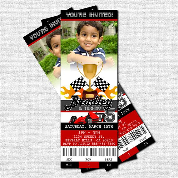 Personalized RACE CAR TICKET Birthday Party Invitations