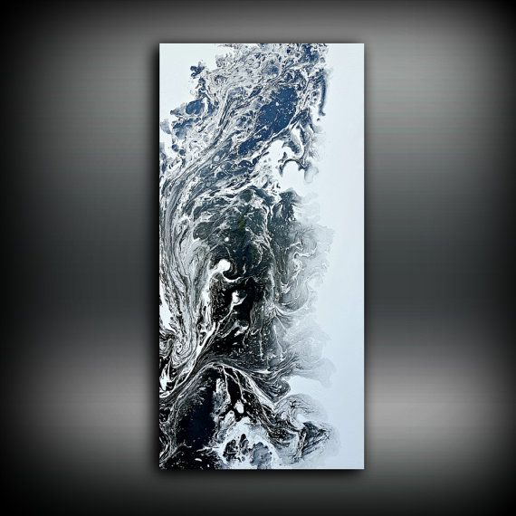 Black and white painting 24 x 48 abstract painting acrylic for Acrylic painting on black background