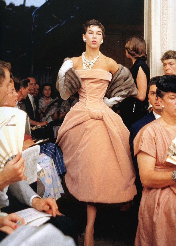 "Victoire in Dior's velvet dress called ""Curaçao"", Autumn/Winter Collection H-line 1954, photo by Mark Shaw, Maison Dior, Paris."