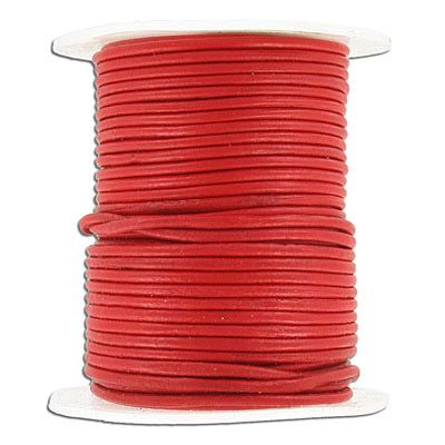 Cord leather 1.5mm diameter 25 metres red. (SKU# TT1.5MMA25/RED). Sold per pack of 1 spool(s).