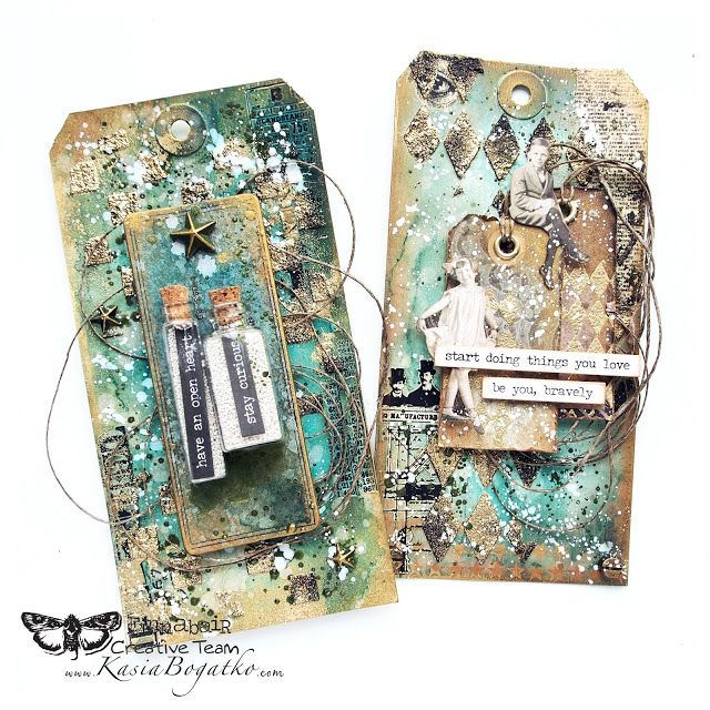 Stay Curious - mixed media tags with video tutorial - by Kasia Bogatko