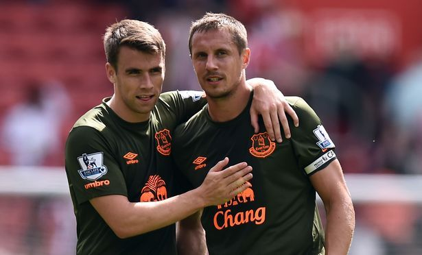 Everton's Seamus Coleman and Phil Jagielka