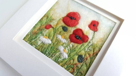 Poppy field needle felted picture  original by tillyteadance
