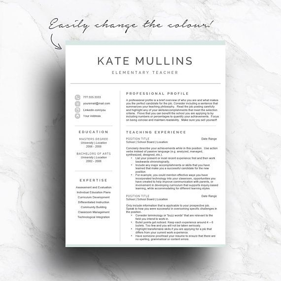 Teacher resume template for Word  Pages (1, 2 and 3 page CV