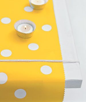 Decorate your table with items you already have.  Bright wrapping paper becomes a table runner and foil cupcake wrappers make great holders for tea lights.: Diy Table Runner, Birthday Parties, Wrapping Papers, Paper Table Runner, Cupcake Foil, Table Runners, Party Ideas