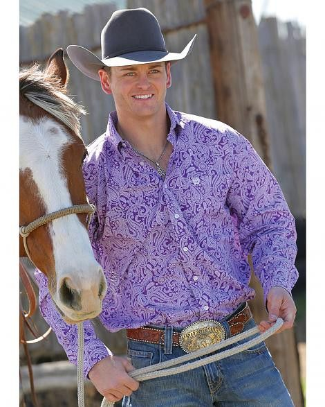 Cinch Men's Purple Paisley Print Button Long Sleeve Shirt Mtw1104185