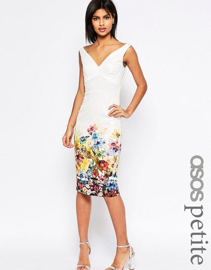 Image 1 ofASOS PETITE Placed Border Bardot Off The Shoulder Pencil Dress