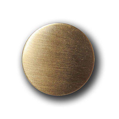 Knopfparadies - 10er Set günstigere schlichte flache gebürstete Knöpfe aus leichtem Metallblech mit Öse / innen hohl / B-WARE / matt goldfarben / Metall / Ø ca. 16mm