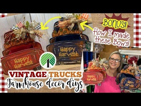 🍂🍃DOLLAR TREE Red Truck Farmhouse Fall DIY |…