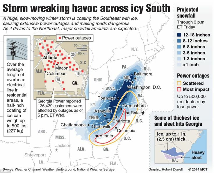 Pummeled: A map  shows the effects of major winter storm driving from the Gulf of Mexico toward the East Coast, showing power outages