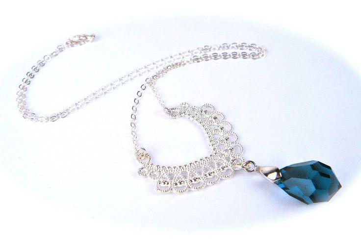 Vintage Czech Glass Pendant Necklace Filigree Silver Tone New Old Stock BLUE #Necklace