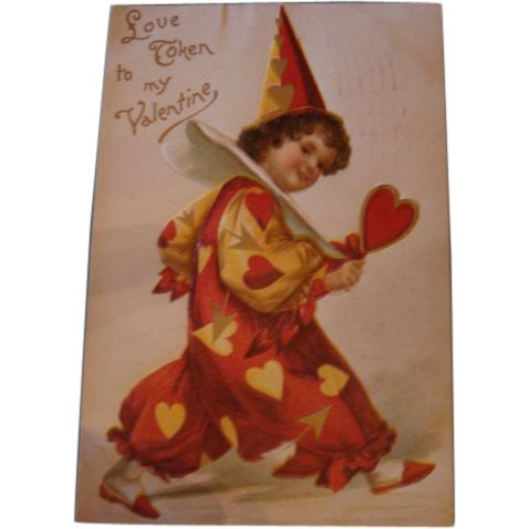 Early 1900's Love Token Valentine's Day Postcard Child in Clown Suit With Hearts and Arrows Embossed