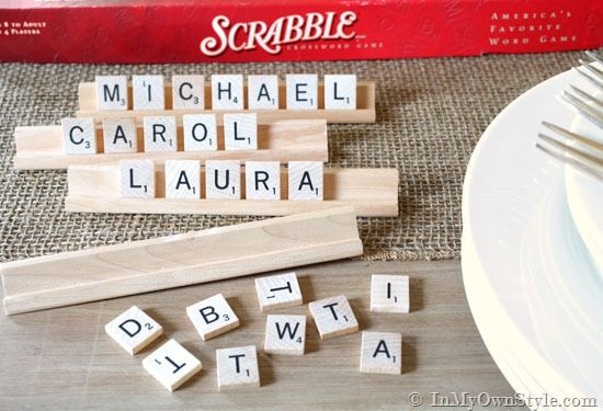 She used small wooden tiles sprayed with chalkboard paint and glass tiles to create place cards.  Also tells how to make the Scrabble-like holders.  Need to check at Michael's to see if the glass tiles come with letters or what she used to make them.