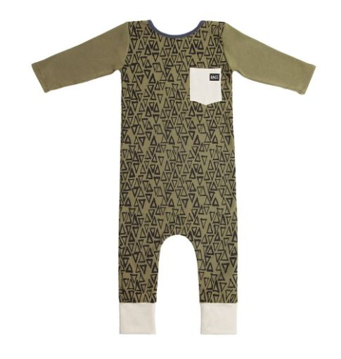 Rags to Raches 3/4 Sleeve Pocket Romper in Green