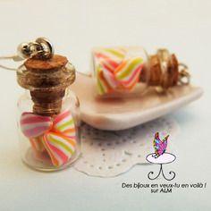 Boucles d'oreilles fimo, fioles bonbons berlingots, bijoux gourmands  fimo. Polymer clay. http://des-bijoux-en-veux-tu.alittlemarket.com www.facebook.com/Desbijouxenveuxtuenvoila