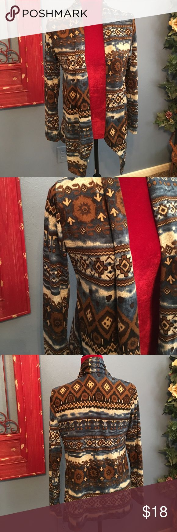 Beautiful brown and blue tribal print Cardigan Brown blue and tan tribal print Cardigan. Size L. Sweaters Cardigans