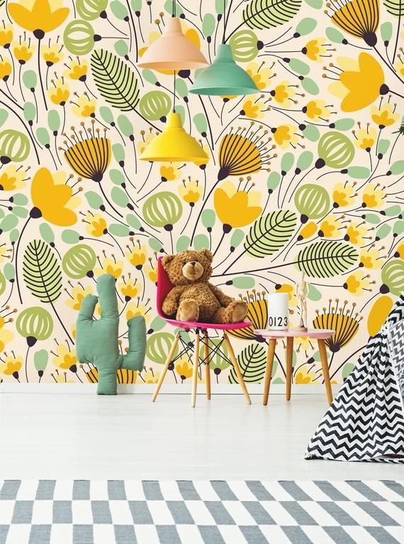 Removable Wallpaper Self Adhesive Wallpaper Yellow Flowers Etsy Removable Wallpaper Mural Wallpaper Peel And Stick Wallpaper