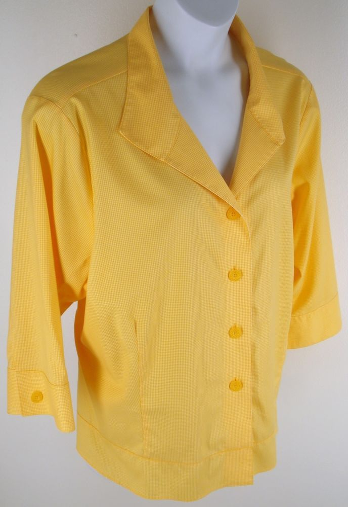 Coldwater Creek Shirt Plus Size 3X Yellow Stretch Layering Shaped Fit Jacket…