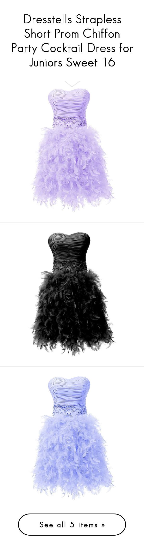 """Dresstells Strapless Short Prom Chiffon Party Cocktail Dress for Juniors Sweet 16"" by sweetie-hart ❤ liked on Polyvore featuring dresses, lullabies, purple, vestido, short dresses, purple dress, strapless prom dresses, purple chiffon dress, short party dresses and black"