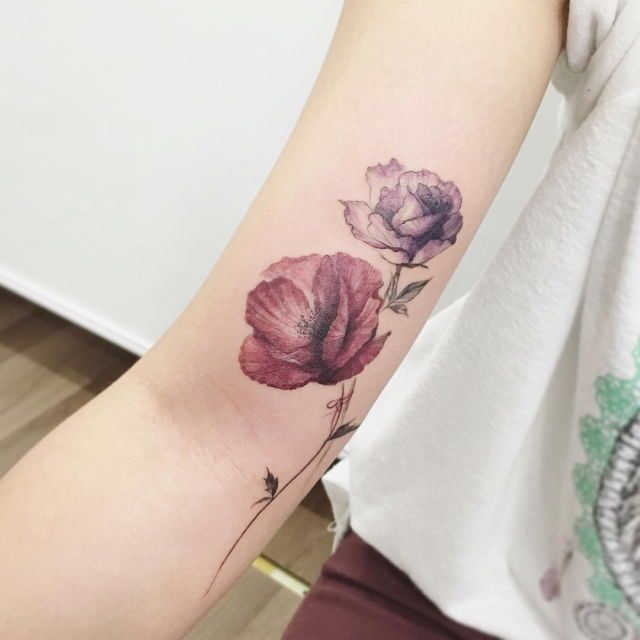 80 Bright Color Tattoo Design Ideas: 17 Best Ideas About Bright Flower Tattoos On Pinterest