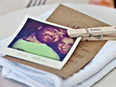 Poloroid Place Cards, Cute! @Jen Ballou, when can we have a dinner party?!