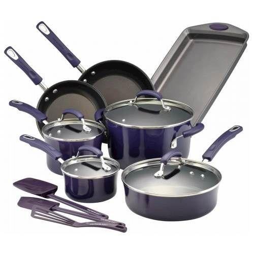 Rachael Ray - 14-Piece Cookware Set - Purple Gradient