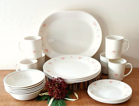 Vintage Corelle Forever Yours 25 Piece Set For 6 Corningware