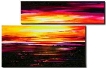 levné obrazy, abstraktní obrazy, moderní obrazy, černá, červená, žlutá, západ slunce, slunce