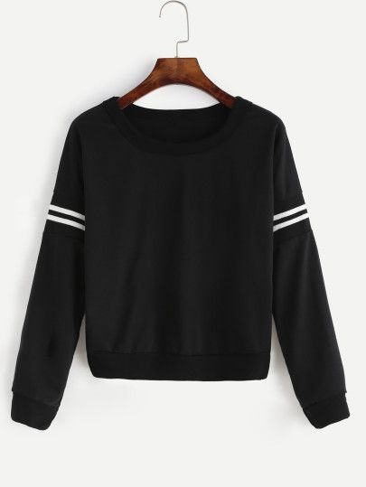 Shop Black Varsity Striped Crop Sweatshirt online. SheIn offers Black Varsity Striped Crop Sweatshirt & more to fit your fashionable needs.