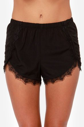 Do Tell Black Lace Shorts $29